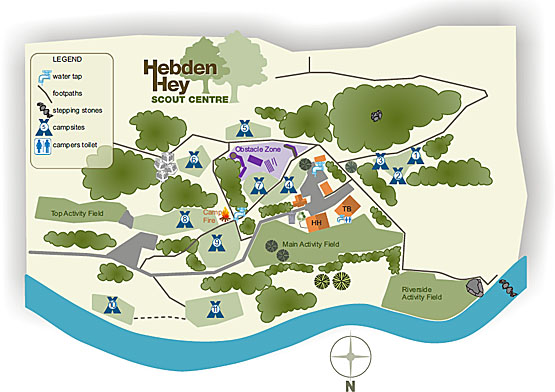 Centre facilities & campsite layout